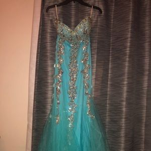 Strapless jeweled prom dress